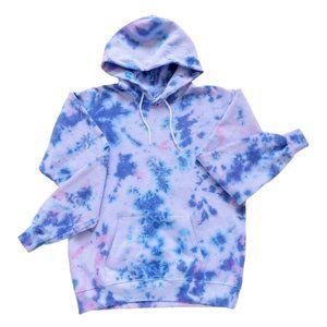 Cotton Candy Pink + Indigo Tie Dye Sweatshirt   M